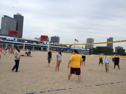 Beach volleyball with friends in North Ave Beach