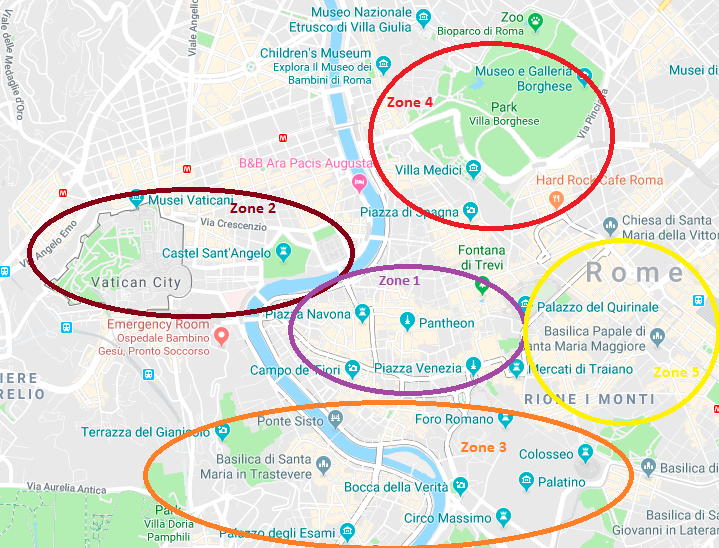 Rome_Tourist Map with Zones