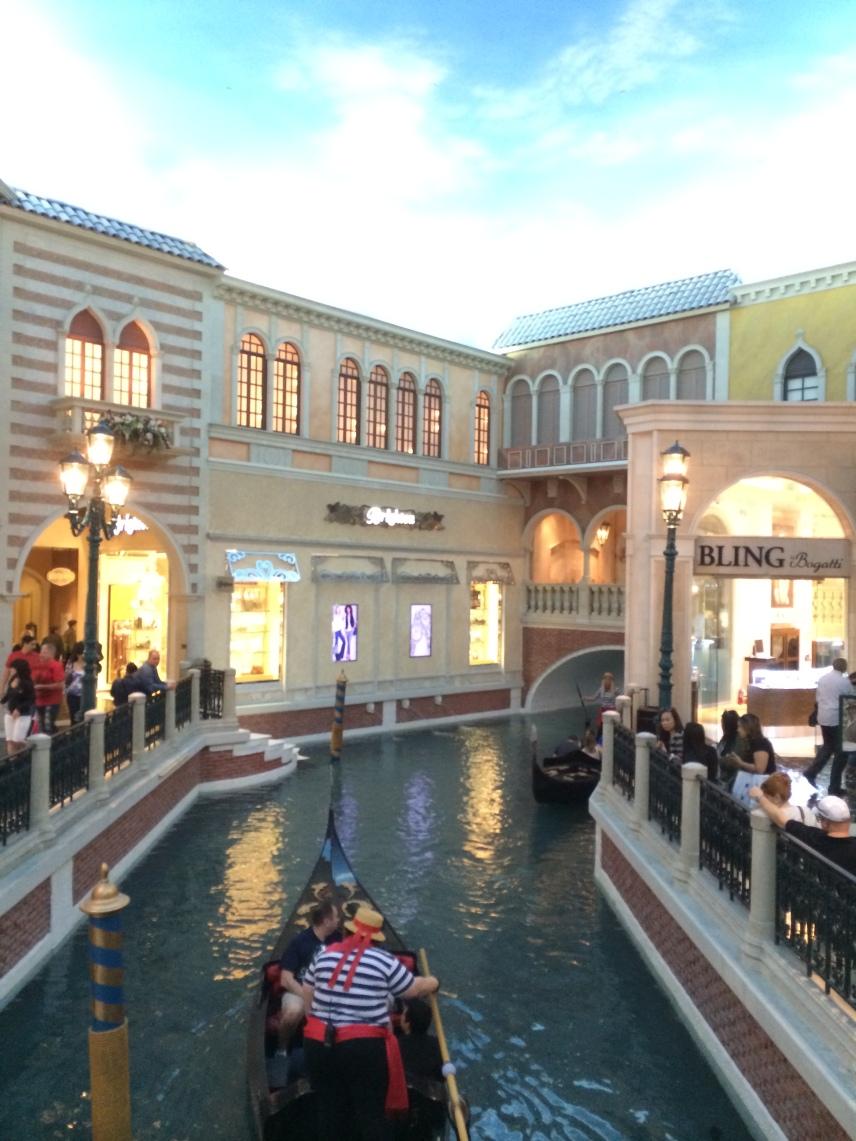 Venetian gondola and shops