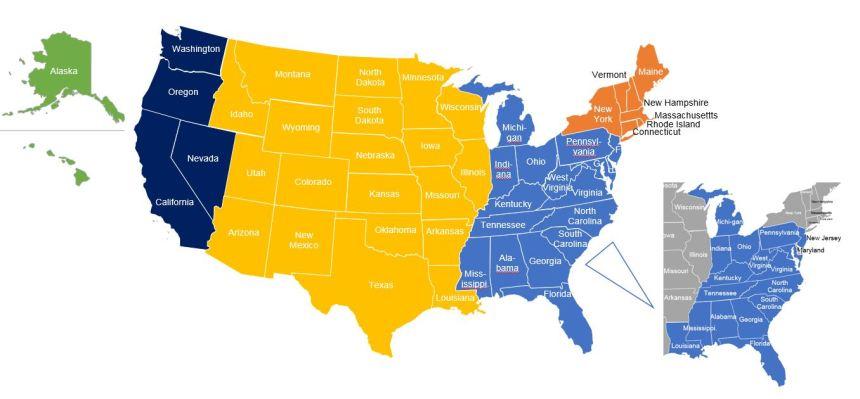 US Map with Atlantic Coast
