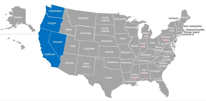 US Map with West Coast
